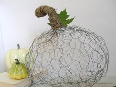 Halloween Autumn Chicken Wire & Twine Pumpkin DIY  ((add some miniature holiday lights for a more festive look))
