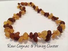Raw Unpolished Cognac Honey Cluster Flower Baltic Amber Necklace for Baby, Infant, Toddler, Big Kid.
