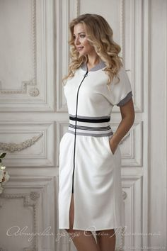 Comfortable white dress, every day dress sporty style, striped dress, casual dress, dress for ballet Simple Dresses, Day Dresses, Casual Dresses, Fashion Dresses, Striped Dress, White Dress, Striped Style, Summer Dresses Online, Dress Online
