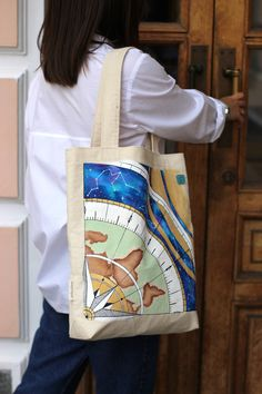 Cosmic bag with handpainted, Designed bag, Astrological bag Acrylic Paint On Fabric, Fabric Painting, Reflection About Life, Cotton Pictures, Cosmic, Traveling, Universe, Reusable Tote Bags, Hand Painted