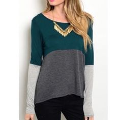 "✨HOST PICK✨Color Block Top Gorgeous teal, charcoal and light grey color block long sleeve top that is the perfect everyday essential for fall/winter! Comfy, lightweight and would be so cute with leggings! Length: 27"". Shorter in the front and longer in the back. 95% Viscose 5% Spandex. Brand new without tags! •No Damages•No Trades•No PayPal• Tops Tees - Long Sleeve"