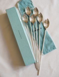 Vintage Tiffany & Co Sterling Silver Set of 6 Leaf-Shaped Mint Julep Iced Tea Spoons Straws/Stirrers