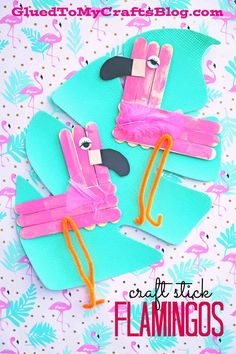 Craft Stick Flamingo - Summer Themed Kid Craft Idea  Find more crafty ideas on Glued To My Crafts!