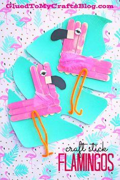 Craft Stick Flamingo - Summer Themed Kid Craft Idea  Find more crafty ideas on Glued To My Crafts!