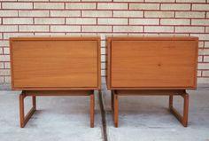 Pair of Mid Century Modern Arne Hovmand Olsen Teak / Side Table / Nightstand / Cabinet by SLCmodern on Etsy https://www.etsy.com/listing/489672711/pair-of-mid-century-modern-arne-hovmand