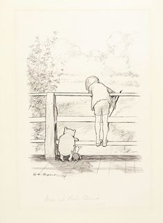 E. H. Shepard, For a long time they looked at the river beneath them from The House at Pooh Corner. Courtesy of Sotheby's London.