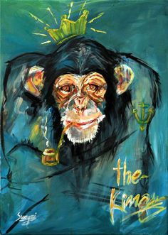 Said Swayssi is an imaginative artist who recently released a series entitled 'Ecographie.' The series depicts animals in hilarious poses, such as smoking a pipe or dressed in a military outfit. Monkey paintings