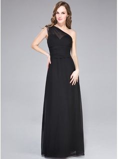 Sheath/Column One-Shoulder Floor-Length Chiffon Evening Dress With Lace (007027463) - JJsHouse