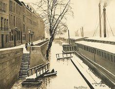 Odo (Otton) Dobrowolski, Snows near Seine, watercolor and Indian ink on paper, 1911