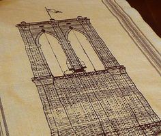 Linen Brooklyn Bridge Tea Towel by SunsetPrintAndDye on Etsy, $22.00