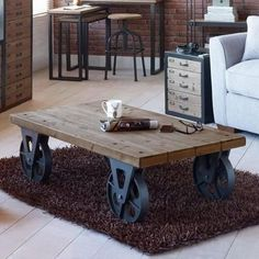 Large Industrial Wooden Iron Coffee Table with Black Wheels Retro Side Vintage in Home, Furniture & DIY, Furniture, Tables | eBay