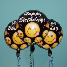 "18"" Emoji Black Happy Birthday 3 Pack Bring some Emoji to your next birthday with these emoji helium balloons. They are so much fun! The balloon has a variety of emoji faces, the main emoji featured i"