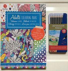 Mandala Buch incl.10 Aquarel Farbstifte Farben Bleistift ausmalen Malen Basteln