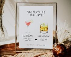 A self editable signature drinks sign with over 100 drinks to choose from. Wedding I Spy, Wedding Games, Wedding Table, Fall Wedding, Wedding Hashtag Sign, Wedding Signs, Floral Baby Shower, Bridal Shower, Sunflower Baby Showers