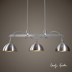 Satin Nickel Finish With Metal Shades. Dimensions (inches): 9.75D, 44.5W, 62.5H.