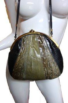 SNAKESKIN Handbag Shoulderbag from Argentina by Vintageables.  Big Purse Sale through August 17, 2014!