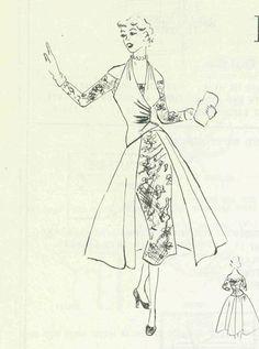 Modes Royale 1196 Sheath Dress with redingote 1950's