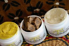 African Black Soap Sample and Travel Set - 1oz each African black soap, yellow shea butter, and white shea butter. $9.00 from Madame Koiteh.
