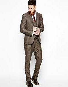 Asos Slim Fit Brown Suit In Herringbone