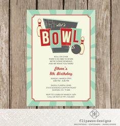 Bowling Birthday Party Invitation Retro Invite Personalized Bowl
