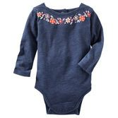 Updated with a boatneck design and puff-print embroidery, this bodysuit looks great with matching overalls.<br>
