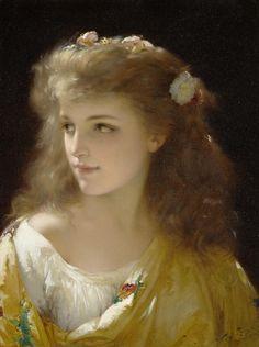 Pierre Olivier Joseph Coomans (1816-1889). A portrait of a young woman, 1880.