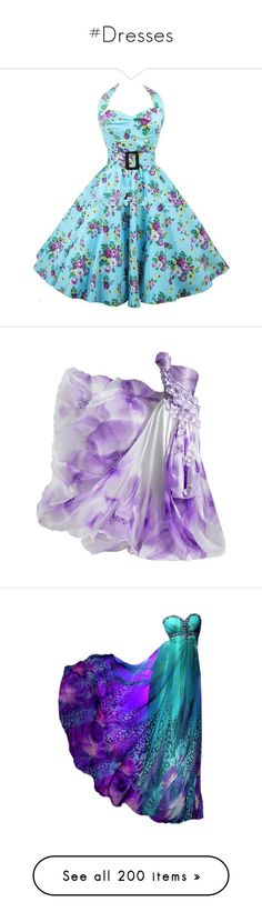 """#Dresses"" by blondemommy ❤ liked on Polyvore featuring dresses, gowns, long dresses, vestidos, purple gown, purple evening dress, purple evening gowns, purple dresses, blue evening gown and long blue evening dress"