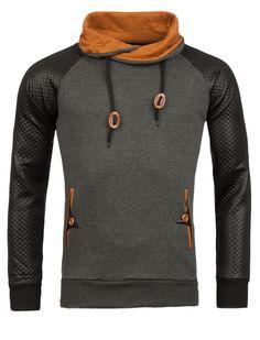 HDL Men Stylish Mock Turtle Neck Sweater - Gray