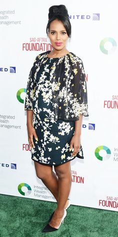 Expectant mom Kerry Washington was radiant at the SAG-AFTRA Foundation 7th Annual L.A. Golf Classic Fundraiser, cradling her growing bump in an easy sheer floral-print silk chiffon Giambattista Valli shift with color-block pumps.