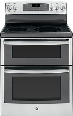 GE freestanding ranges can be installed free from surrounding cabinetry. The side panels have a finished appearance. This range features ceramic glass cooktop. A smooth and seamless cooktop surface makes cleaning quick and easy, along with electronic oven controls, a one-touch electronic pads that are easy-to-use and allow for simple oven operation. GE's TrueTemp system manages oven temperatures to ensure accurate, consistent heating and total cooking performance. The SmartLogic electronic…