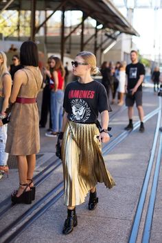 Punk tee and a glam skirt.