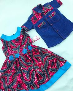 Sibling set featuring the Ally dress and the denim shirt for a special client. Baby African Clothes, African Dresses For Kids, Latest African Fashion Dresses, Dresses Kids Girl, Kids Outfits Girls, African Print Fashion, African Kids, Baby Dress Design, Baby Girl Dress Patterns