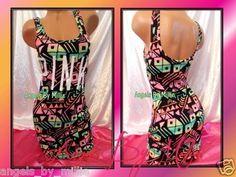 New Victoria's Secret PINK S Tribal Aztec Print Sexy Stretch Tank Cover Up Dress