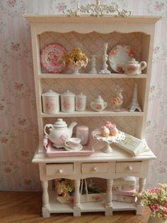 Dollhouse shabby chic kitchen hutch 112 scale by monaliszadesign #miniature