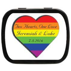 One Love Personalized Wedding Mint Tins #LBGT #weddingfavors #rainbow