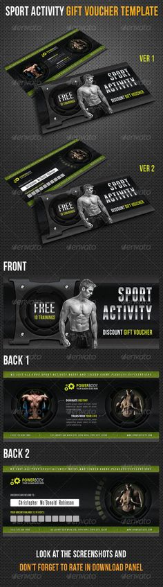 Sport Activity Gift Voucher V25 http://graphicriver.net/item/sport-activity-gift-voucher-v25/8493679?ref=damiamio The Pack included: Gift Voucher Template 2 PSD files Front and 2 Back Sides 216×106 mm Print size 210×100 mm Cut Size 8.3×3.9 inches Print Ready CMYK, 300dpi High Quality Bleeds, Guidlines, Safe lines Highly Organised Layers Clean Design Photo links in download Read me file (included instrucions) Fonts Required: Myriad – Adobe Software System Font OR download here: .myfonts…