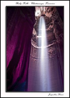 "Ruby Falls in Chattanooga, TN, by Jackie Stoner. ""Ruby Falls - an underground waterfall, 180' high - in Chattanooga, TN. One must take an elevator down over 200 feet into the mountain, then walk for about 1/2 mile through the cave to reach this stunning waterfall. Just before you arrive at the waterfall, the lights go off and everything is quite black. Then the lights come on and slowly change colors. A wonderful experience - very, very lovely!"" says Jackie"