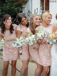 short and laser pink bridesmaid look so elegant and lovely
