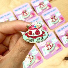 Panda Cotta Hard Enamel Lapel Pin by LindaPanda on Etsy https://www.etsy.com/listing/546340559/panda-cotta-hard-enamel-lapel-pin