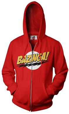 The Big Bang Theory Bazinga! Red Adult Zip Up Sweatshirt Hoodie $47.99