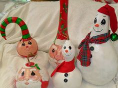 painted Christmas gourds