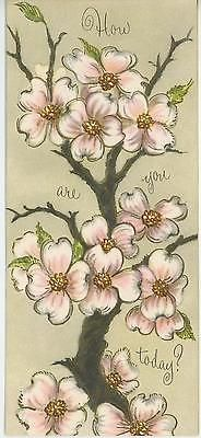 VINTAGE DOGWOOD TREE FLOWER SPRING BLOSSOMS W GOLD GET WELL GREETING CARD PRINT
