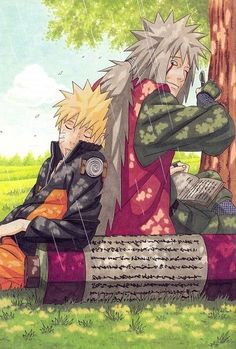 Jiraiya and Naruto's last moment together.