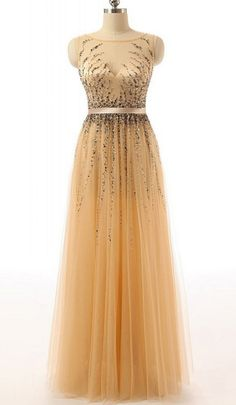 Beaded Gold Long Cap Sleeves Modest Prom