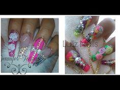 uñas acrilicas rosas estilo sinaloa 3D y punta moderna en colaboracion con Luliz Nails - YouTube