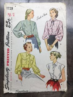 Size 18 Bust 36; Simplicity 1728; Misses Blouses with Slightly Lowered Armhole; 1940s Misses Vintage Sewing Pattern by RoxyPoindexter