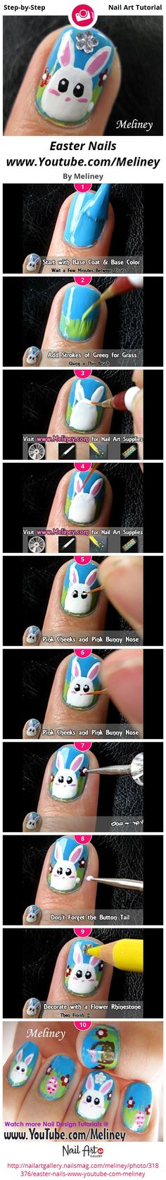 Easter Nails www.Youtube.com/Meliney - Nail Art Gallery Step-by-Step Tutorial Photos