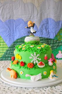 The Sound of Music cake with Maria cake topper and My Favourite Things items