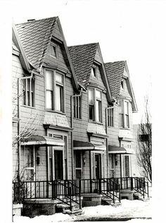 Row houses in historic Corktown., Detroit, MI