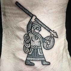 A tiny shield maiden for Michelle to protect her ankle.. she's broken it twice, so she's hoping for some protection from the Northern gods on her future adventures :D This handpoked warrior is about 6cm tall. Thank you, see you soon Michelle :) #viking #vikings #vikingtattoo #norse #norsewarrior #norsemen #norsemythology #norsetattoo #nord #nordic #nordicwoman #nordictattoo #blackwork #blackworktattoo #dotwork #dotworktattoo #heathen #ásatrú #pagan #handpoke #handpoketattoo